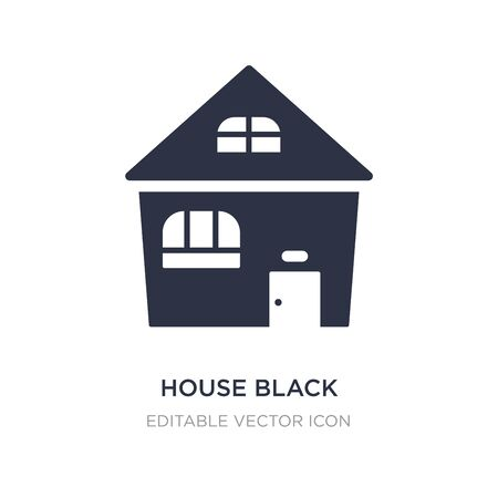 house black without door icon on white background. Simple element illustration from Buildings concept. house black without door icon symbol design. Ilustrace