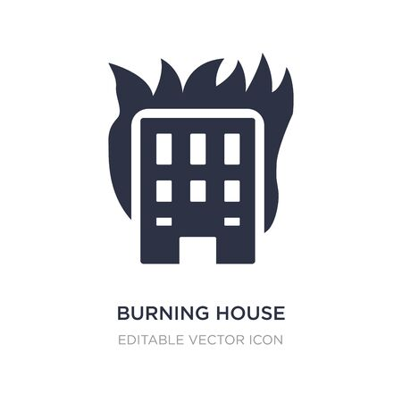 burning house icon on white background. Simple element illustration from Buildings concept. burning house icon symbol design.