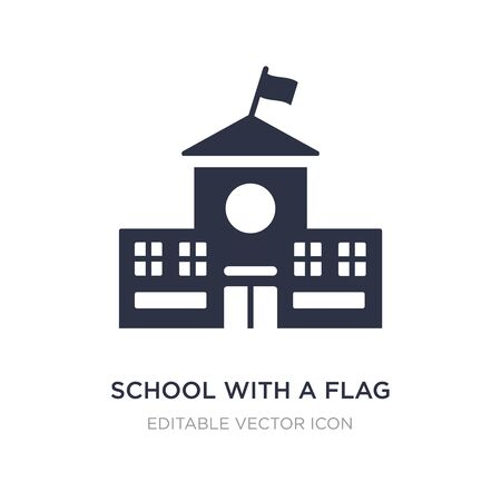 school with a flag icon on white background. Simple element illustration from Buildings concept. school with a flag icon symbol design.