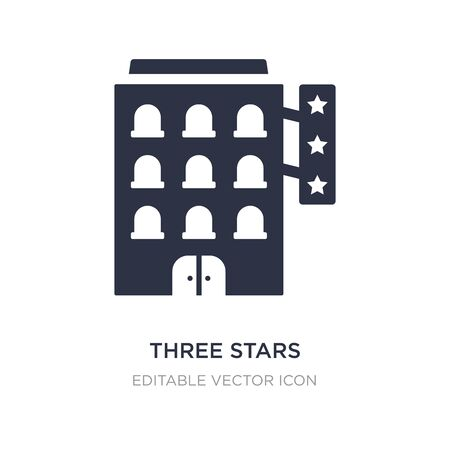 three stars icon on white background. Simple element illustration from Buildings concept. three stars icon symbol design.