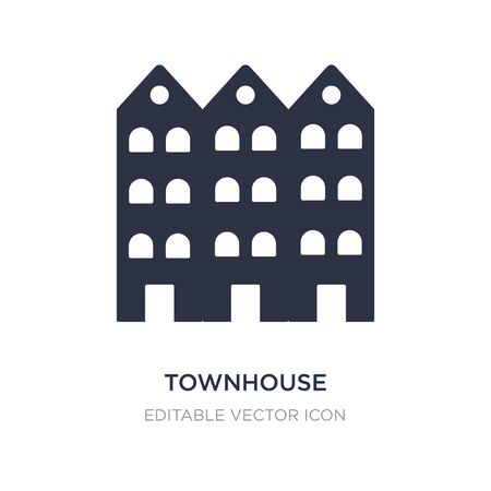 townhouse icon on white background. Simple element illustration from Buildings concept. townhouse icon symbol design. Stock Illustratie