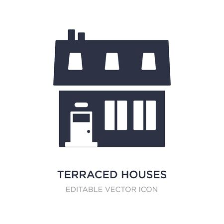 terraced houses icon on white background. Simple element illustration from Buildings concept. terraced houses icon symbol design. Stock Illustratie