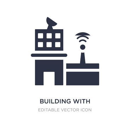 building with antenna icon on white background. Simple element illustration from Buildings concept. building with antenna icon symbol design.