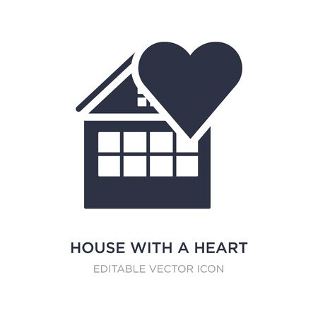 house with a heart icon on white background. Simple element illustration from Buildings concept. house with a heart icon symbol design. Stock Illustratie