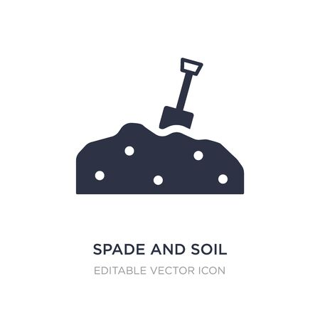 spade and soil icon on white background. Simple element illustration from Buildings concept. spade and soil icon symbol design. Stock Illustratie
