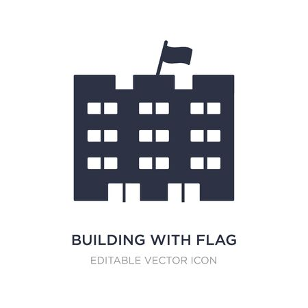 building with flag icon on white background. Simple element illustration from Buildings concept. building with flag icon symbol design.