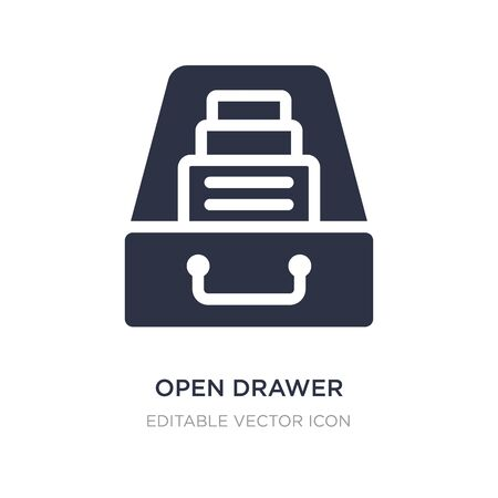 open drawer icon on white background. Simple element illustration from General concept. open drawer icon symbol design. Stock Illustratie