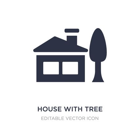 house with tree icon on white background. Simple element illustration from Buildings concept. house with tree icon symbol design.