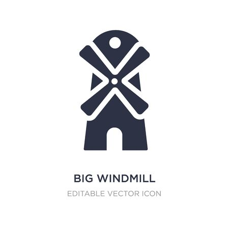 big windmill icon on white background. Simple element illustration from Buildings concept. big windmill icon symbol design. Stock Illustratie