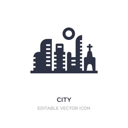city icon on white background. Simple element illustration from Buildings concept. city icon symbol design.