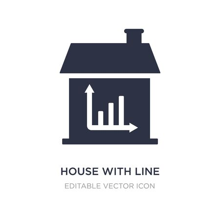 house with line chart icon on white background. Simple element illustration from Buildings concept. house with line chart icon symbol design. Stock Illustratie