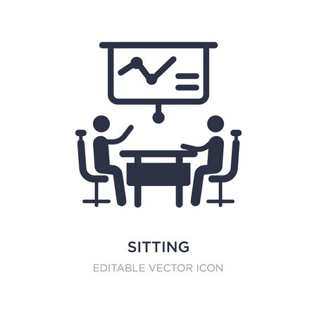 sitting icon on white background. Simple element illustration from Business concept. sitting icon symbol design. 矢量图像