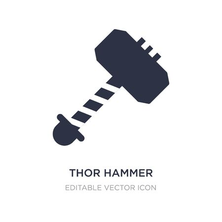 thor hammer icon on white background. Simple element illustration from Weapons concept. thor hammer icon symbol design.