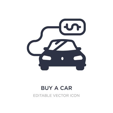 buy a car icon on white background. Simple element illustration from Commerce concept. buy a car icon symbol design. Vettoriali