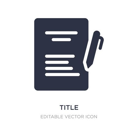 title icon on white background. Simple element illustration from Education concept. title icon symbol design. 스톡 콘텐츠 - 135418030