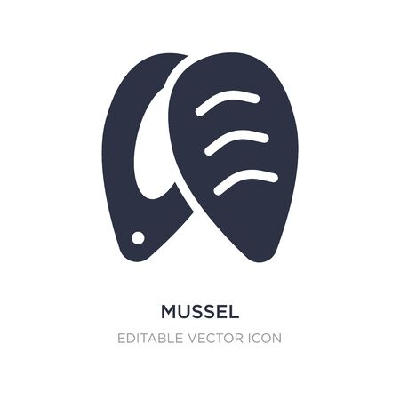 mussel icon on white background. Simple element illustration from Food concept. mussel icon symbol design.