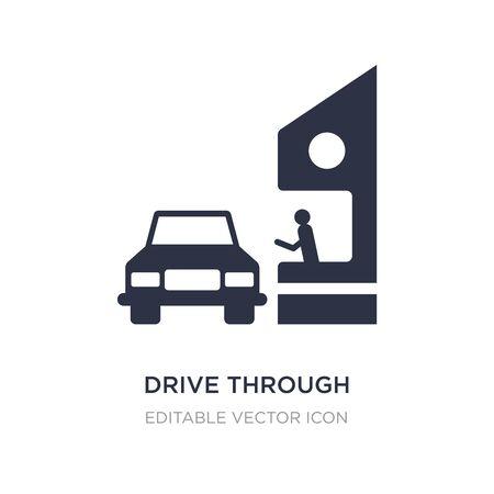 conducir a través del icono sobre fondo blanco. Ilustración de elemento simple del concepto de comida. conduzca a través del diseño del símbolo del icono.