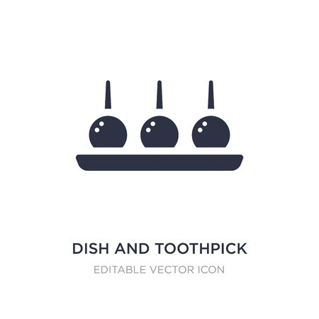 dish and toothpick icon on white background. Simple element illustration from Food concept. dish and toothpick icon symbol design.
