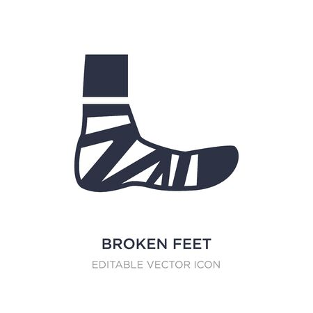broken feet with bandage icon on white background. Simple element illustration from Medical concept. broken feet with bandage icon symbol design.