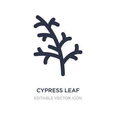 icona di foglia di cipresso su sfondo bianco. Illustrazione semplice dell'elemento dal concetto della natura. disegno di simbolo dell'icona di foglia di cipresso.