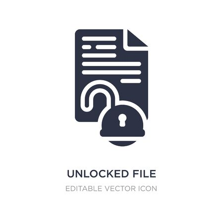 unlocked file icon on white background. Simple element illustration from Security concept. unlocked file icon symbol design.
