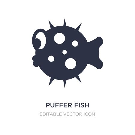 puffer fish icon on white background. Simple element illustration from Animals concept. puffer fish icon symbol design.