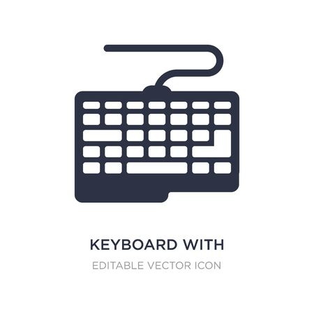 keyboard with cable icon on white background. Simple element illustration from Computer concept. keyboard with cable icon symbol design.