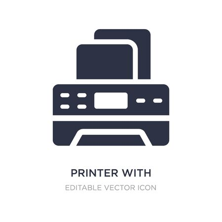printer with blank paper sheet icon on white background. Simple element illustration from Tools and utensils concept. printer with blank paper sheet icon symbol design.