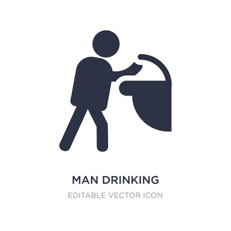 man drinking water in public place icon on white background. Simple element illustration from People concept. man drinking water in public place icon symbol design. Vettoriali