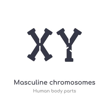 masculine chromosomes outline icon. isolated line vector illustration from human body parts collection. editable thin stroke masculine chromosomes icon on white background