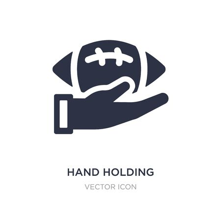 hand holding the ball icon on white background. Simple element illustration from American football concept. hand holding the ball sign icon symbol design.