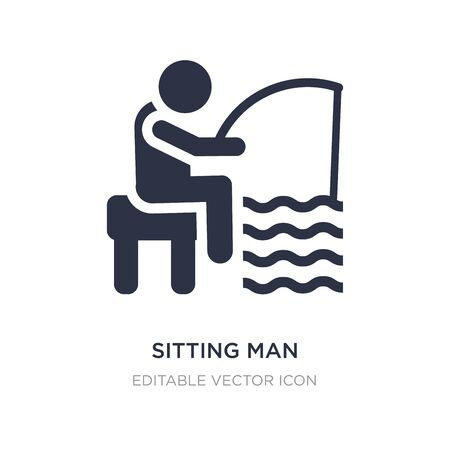 sitting man fishing icon on white background. Simple element illustration from People concept. sitting man fishing icon symbol design.  イラスト・ベクター素材