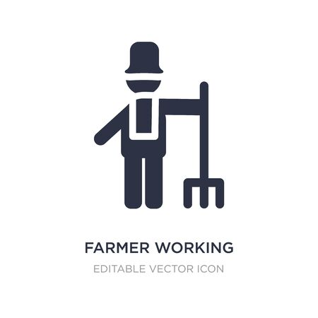 farmer working icon on white background. Simple element illustration from People concept. farmer working icon symbol design.