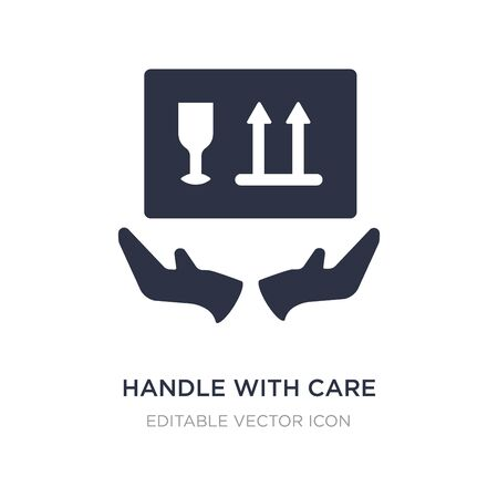 handle with care icon on white background. Simple element illustration from Shapes concept. handle with care icon symbol design. Vettoriali