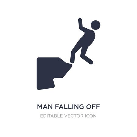man falling off a precipice icon on white background. Simple element illustration from Sports concept. man falling off a precipice icon symbol design. Vectores