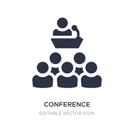 conference icon on white background. Simple element illustration from Social media marketing concept. conference icon symbol design. Vectores