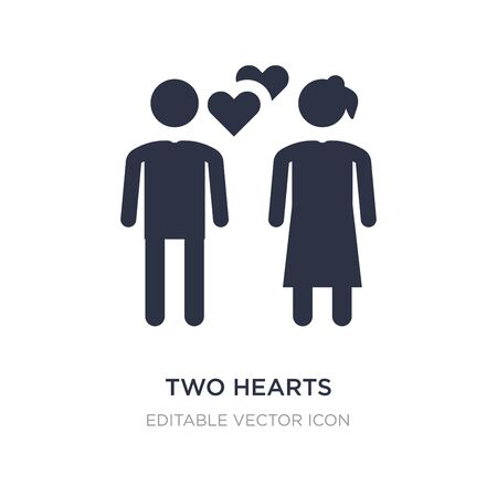 two hearts icon on white background. Simple element illustration from People concept. two hearts icon symbol design.