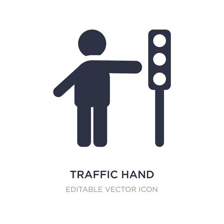traffic hand icon on white background. Simple element illustration from People concept. traffic hand icon symbol design.