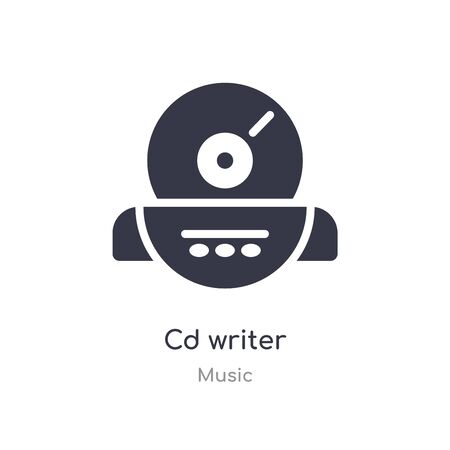 cd writer outline icon. isolated line vector illustration from music collection. editable thin stroke cd writer icon on white background Ilustrace