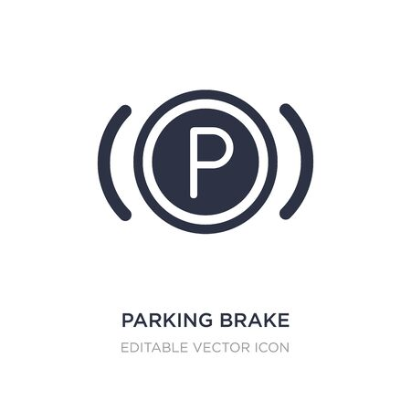 icône de frein de stationnement sur fond blanc. Illustration d'élément simple du concept de signalisation. conception de symbole d'icône de frein de stationnement.