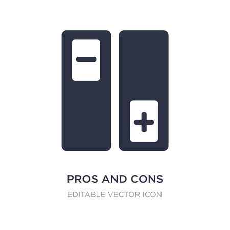 pros and cons icon on white background. Simple element illustration from Social media marketing concept. pros and cons icon symbol design.