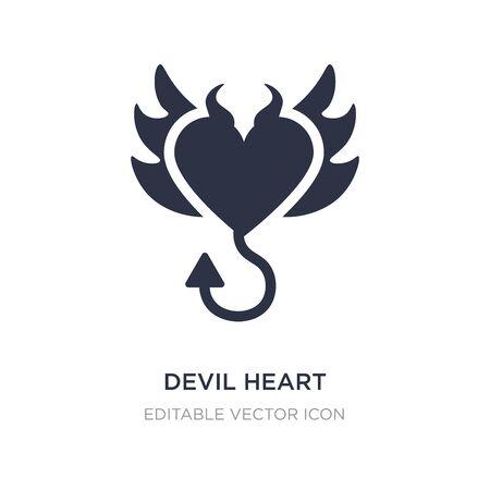 corazón de diablo con icono de alas sobre fondo blanco. Ilustración de elemento simple del concepto de formas. diablo corazón con alas icono símbolo diseño.