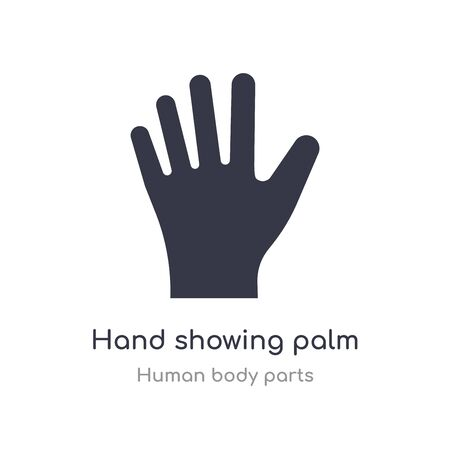 mano que muestra el icono de contorno de la palma. Ilustración de vector de línea aislada de la colección de partes del cuerpo humano. mano de trazo fino editable que muestra el icono de la palma sobre fondo blanco