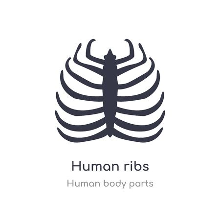 human ribs outline icon. isolated line vector illustration from human body parts collection. editable thin stroke human ribs icon on white background