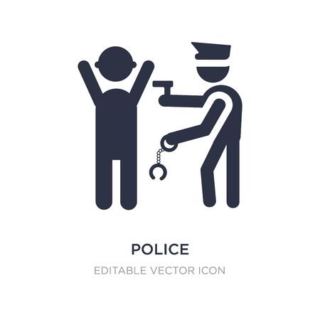 police arresting man icon on white background. Simple element illustration from People concept. police arresting man icon symbol design.  イラスト・ベクター素材