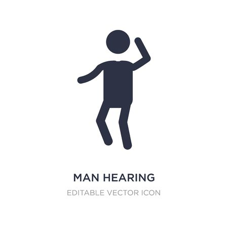 man hearing icon on white background. Simple element illustration from People concept. man hearing icon symbol design.