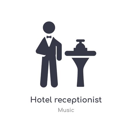 hotel receptionist outline icon. isolated line vector illustration from music collection. editable thin stroke hotel receptionist icon on white background