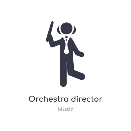 orchestra director with stick outline icon. isolated line vector illustration from music collection. editable thin stroke orchestra director with stick icon on white background Vettoriali