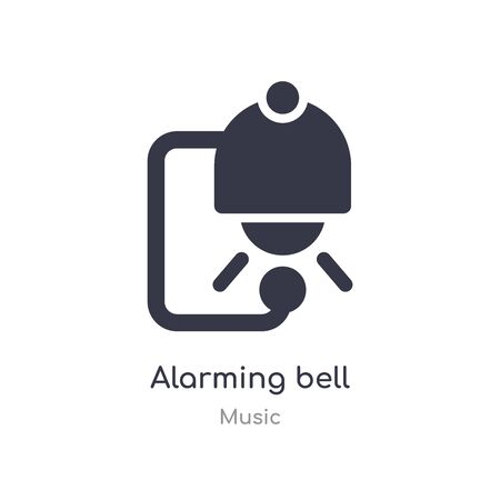 alarming bell outline icon. isolated line vector illustration from music collection. editable thin stroke alarming bell icon on white background