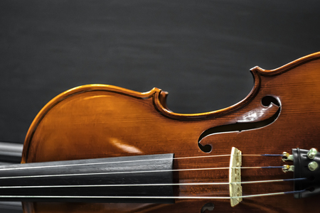 wooden Violin on black background